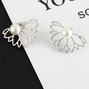 *VEVINA* Silver Hollow Flower Pearl Stud Earrings
